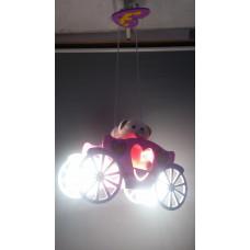 """Люстра детская подвесная светодиодная для девочки, длинна подвесов регулируется. Материал изготовления: пластик+стекло+дерево. Модель """"машинка+ две мягкие игрушки """"мишки"""".  Освещение предполагаемое до 12 кв.м."""