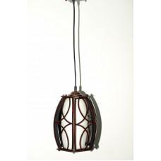 Стеклянный белый матовый плафон, в деревянном обрамлении. Высота светильника регулируется.